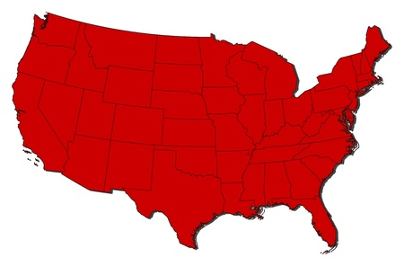 usa map: Political map of the United States with the several states.