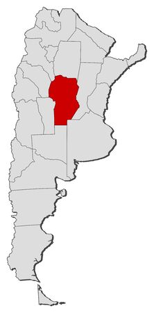 provinces: Political map of Argentina with the several provinces where Córdoba is highlighted. Illustration