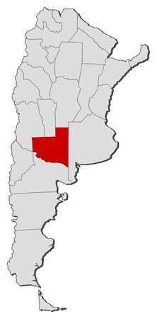 Political map of Argentina with the several provinces where La Pampa is highlighted.