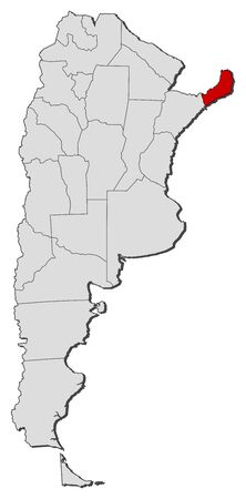 Political map of Argentina with the several provinces where Misiones is highlighted. Vector