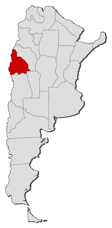 Political map of Argentina with the several provinces where San Juan is highlighted.