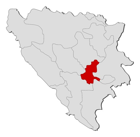 cantons: Political map of Bosnia and Herzegovina with the several cantons where Sarajevo is highlighted.