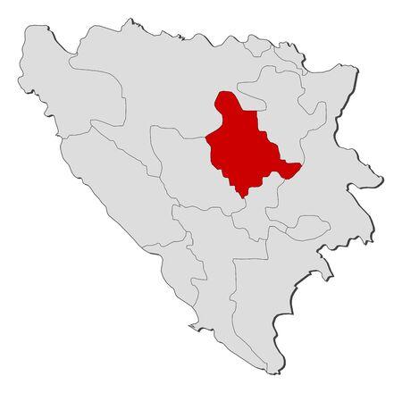 bosna: Mappa politica della Bosnia-Erzegovina con i Cantoni diversi casi in cui viene evidenziata Zenica-Doboj.