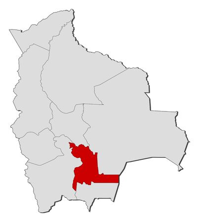 Political map of Bolivia with the several departments where Chuquisaca is highlighted.