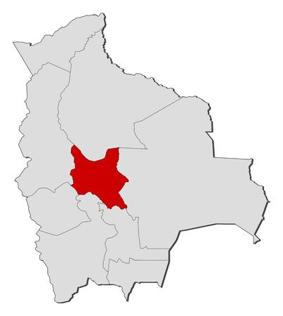 cochabamba: Political map of Bolivia with the several departments where Cochabamba is highlighted.