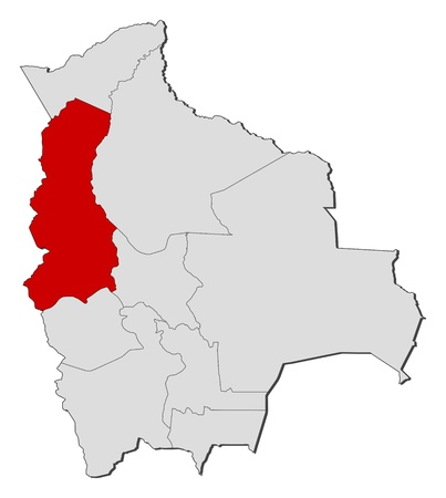 Political map of Bolivia with the several departments where La Paz is highlighted.