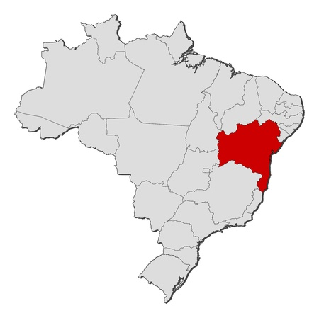 Political map of Brazil with the several states where Bahia is highlighted. Vector