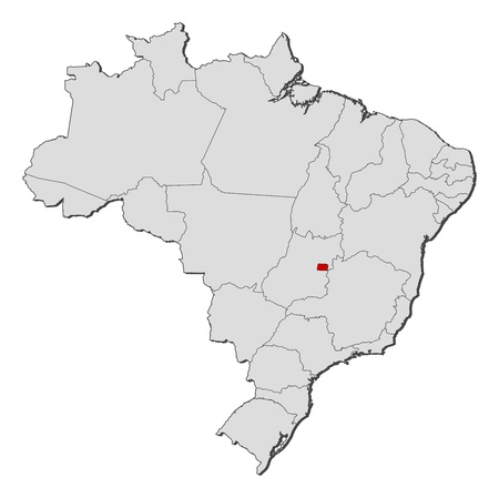 federal district: Political map of Brazil with the several states where Brazilian Federal District is highlighted.