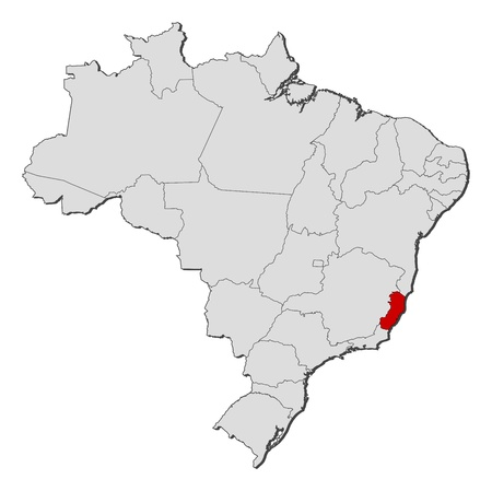 Political map of Brazil with the several states where Esp�rito Santo is highlighted.