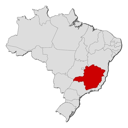 Political map of Brazil with the several states where Minas Gerais is highlighted.