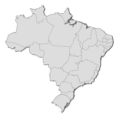 Political map of Brazil with the several states.