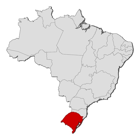 Political map of Brazil with the several states where Rio Grande do Sul is highlighted. Illustration