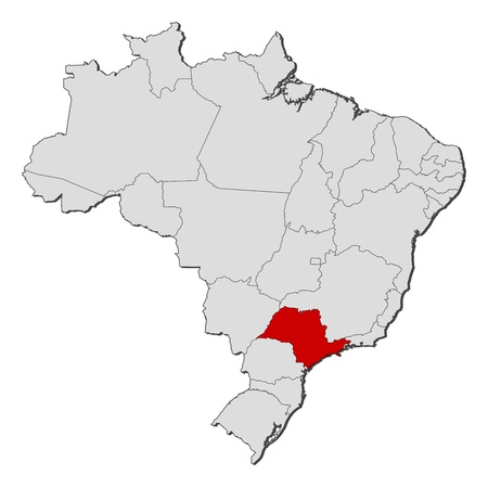 Political map of Brazil with the several states where São Paulo is highlighted. Vector