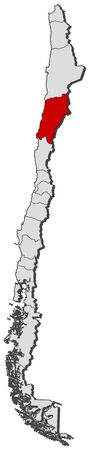 Political map of Chile with the several regions where Atacama is highlighted.