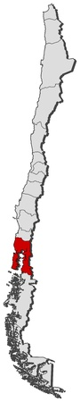 Political map of Chile with the several regions where Los Lagos is highlighted.
