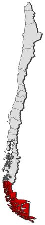 Political map of Chile with the several regions where Magellan and Chilean Antarctica is highlighted. Vector