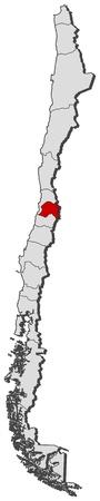 La carte politique du Chili avec les plusieurs régions où la région métropolitaine est en surbrillance. Banque d'images - 11347243