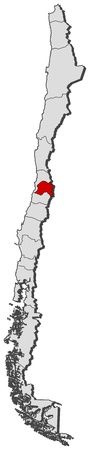 emphasize: Political map of Chile with the several regions where Metropolitan Region is highlighted.