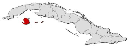 Political map of Cuba with the several provinces where Isla de la Juventud is highlighted.