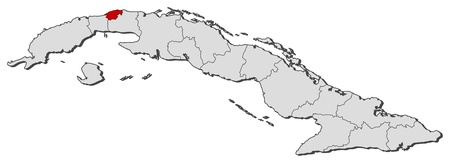 havana cuba: Political map of Cuba with the several provinces where Havana is highlighted.