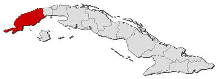 del: Political map of Cuba with the several provinces where Pinar del R�o is highlighted. Illustration