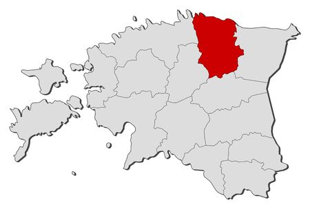 ne: Political map of Estonia with the several counties where L��ne-Viru is highlighted. Illustration