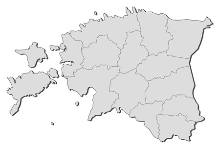 Political map of Estonia with the several counties. Vector
