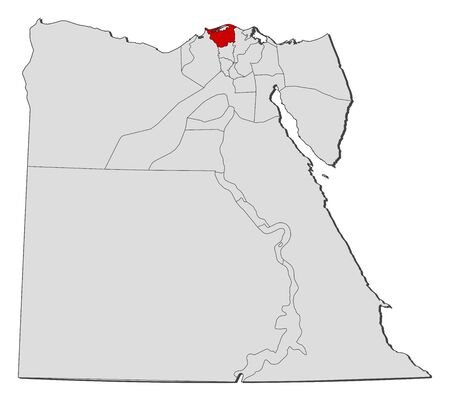 Political map of Egypt with the several governorates where Kafr el-Sheikh is highlighted.