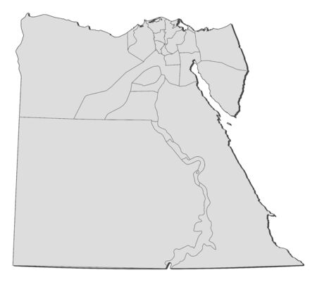 Political map of Egypt with the several governorates. Vector