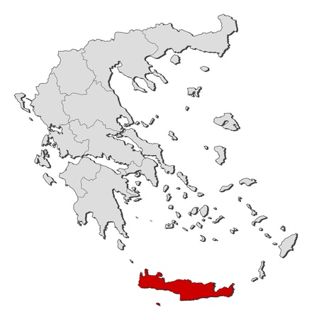 Political map of Greece with the several states where Crete is highlighted.
