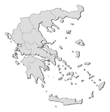 Political map of Greece with the several states. Vector
