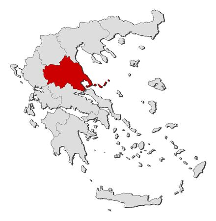 thessaly: Political map of Greece with the several states where Thessaly is highlighted.