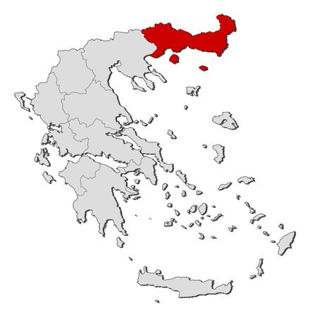 Political map of Greece with the several states where East Macedonia and Thrace is highlighted. Vector