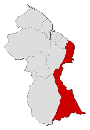 Political map of Guyana with the several regions where Mahaica-Berbice is highlighted. Illustration
