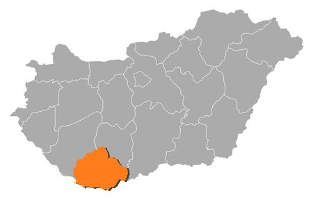 magyar: Political map of Hungary with the several counties where Baranya is highlighted. Illustration