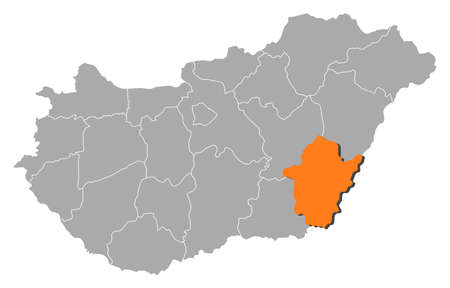 magyar: Political map of Hungary with the several counties where B�k�s is highlighted.