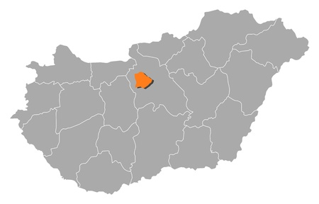 where: Political map of Hungary with the several counties where Budapest is highlighted.