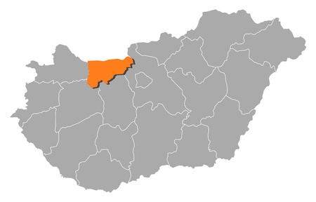 magyar: Political map of Hungary with the several counties where Kom�rom-Esztergom is highlighted. Illustration