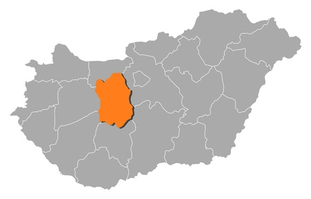 orange county: Political map of Hungary with the several counties where Fej�r is highlighted.