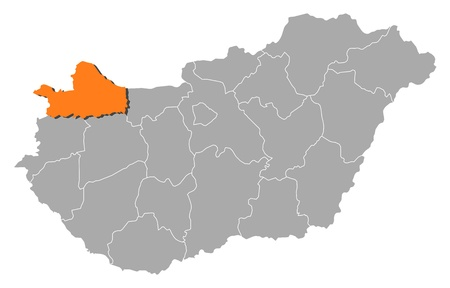 orange county: Political map of Hungary with the several counties where Gy�r-Moson-Sopron is highlighted.