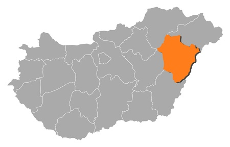magyar: Political map of Hungary with the several counties where Hajd�-Bihar is highlighted.