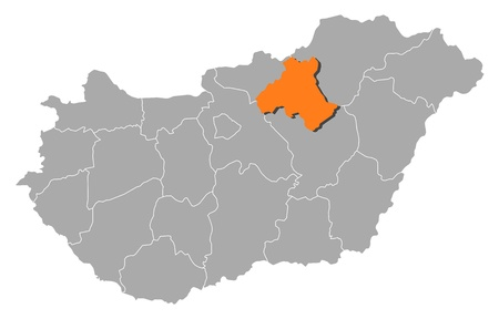 magyar: Political map of Hungary with the several counties where Heves is highlighted. Illustration