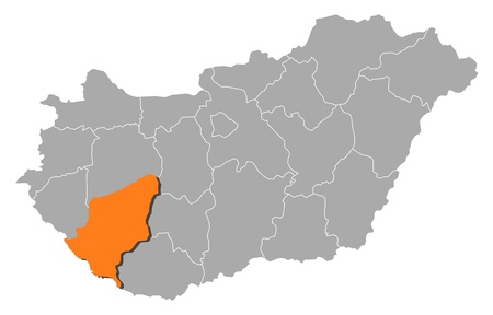 magyar: Political map of Hungary with the several counties where Somogy is highlighted. Illustration