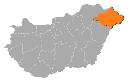 magyar: Political map of Hungary with the several counties where Szabolcs-Szatm�r-Bereg is highlighted. Illustration