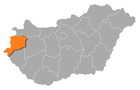 vas: Political map of Hungary with the several counties where Vas is highlighted.