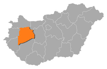 magyar: Political map of Hungary with the several counties where Veszpr�m is highlighted.