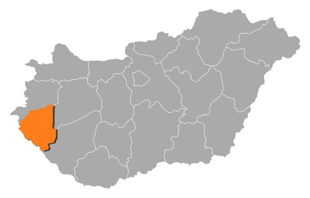 magyar: Political map of Hungary with the several counties where Zala is highlighted. Illustration