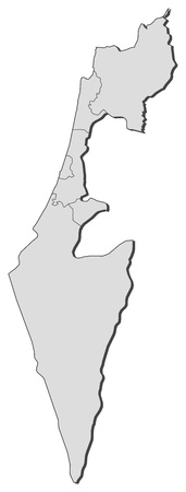 Political map of Israel with the several districts. Vector