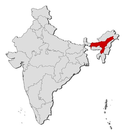 assam: Political map of India with the several states where Assam is highlighted. Illustration