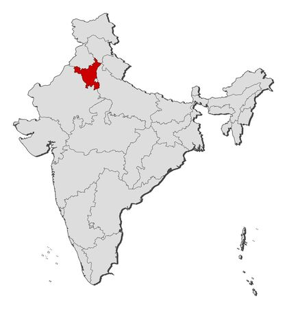 Political map of India with the several states where Haryana is highlighted. Vector